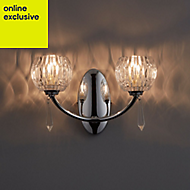 Pixie Cut glass Chrome effect 2 Lamp Double wall light