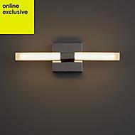 Paroo Clear Chrome effect LED Double bathroom wall light