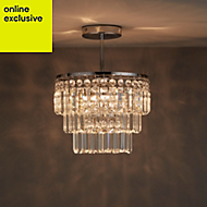 Bargo Clear Chrome effect 3 Lamp Bathroom ceiling light