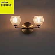 Steyning Antique brass effect Wall light