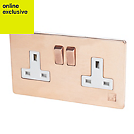 Varilight 13A Anti-microbial copper Double Socket