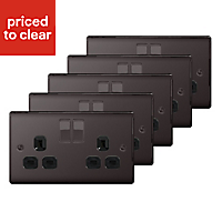 Nexus 13A Black Nickel effect Double Socket, Pack of 5