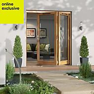 Golden Oak Timber Glazed Folding Patio door, (H)2094mm (W)1794mm