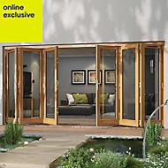 Golden Oak Timber Glazed Folding Patio door, (H)2094mm (W)4194mm