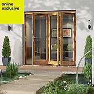Golden Oak Timber Glazed Folding Patio door, (H)2094mm (W)2094mm