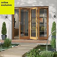Golden Oak Timber Glazed Folding Patio door, (H)2094mm (W)2394mm
