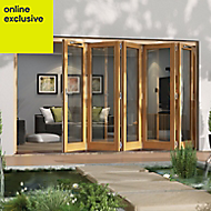 Golden Oak Timber Glazed Folding Patio door, (H)2094mm (W)3594mm