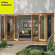 Golden Oak Timber Glazed Folding Patio door, (H)2094mm (W)4794mm