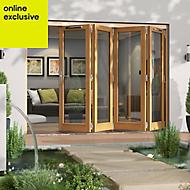 Golden Oak Timber Glazed Folding Patio door, (H)2094mm (W)2994mm