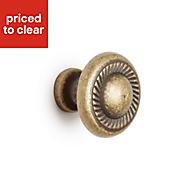 B&Q Antique brass Round Bedroom Knob Cabinet handle (W)31 mm