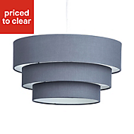 Colours Kase Grey Plain Lampshade (D)400mm