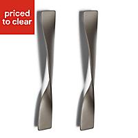 Titanium effect Left Twist Bedroom Handle Door handle (W)25 mm