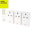 LightwaveRF White On/off adapters & Remote control, Pack of 3