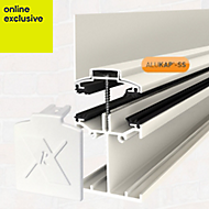 Alukap White Axiome sheet glazing bar, (H)140mm (W)60mm (L)4800mm