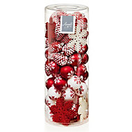 Modern Red & white Glitter effect Mixed Decoration, Pack of 84