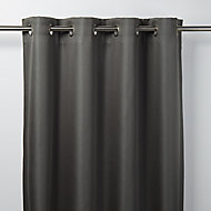 Moggo Dark grey Herringbone Blackout Eyelet Curtain (W)167cm (L)183cm, Single