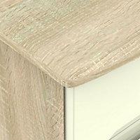 Monte carlo Cream oak effect 3 Drawer Bedside chest (H)730mm (W)450mm (D)395mm