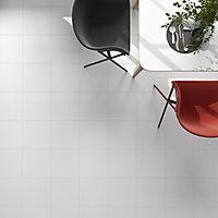 Monzie White Satin Plain Ceramic Wall & floor tile, Pack of 13, (L)333mm (W)333mm