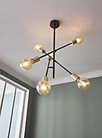 Monzoni Black Gold effect 6 Lamp Pendant ceiling light, (Dia)515mm