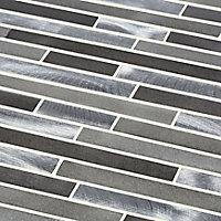 Naplo Grey Aluminium Mosaic tile, (L)304mm (W)300mm