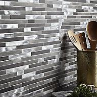 Naplo Grey Metal effect Mosaic tile, (L)304mm (W)300mm