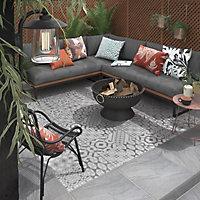 Nordic décor Grey Matt Stone effect Geometric Porcelain Outdoor Floor Tile, Pack of 2, (L)600mm (W)600mm