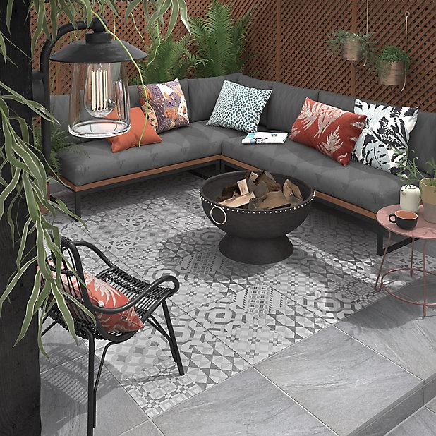 Nordic Décor Grey Matt Stone Effect, Outdoor Porcelain Tile