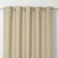 Novan Beige Plain Blackout Eyelet Curtain (W)167cm (L)228cm, Single