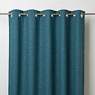 Novan Blue Plain Blackout Eyelet Curtain (W)167cm (L)228cm, Single