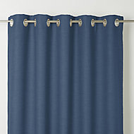 Novan Dark blue Plain Unlined Eyelet Curtain (W)140cm (L)260cm, Single