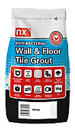NX Anti-bacterial Fine textured Arctic white Tile Grout, 5kg