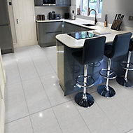 Opulence Grey Gloss Stone effect Porcelain Floor tile, Pack of 5, (L)600mm (W)300mm
