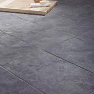Oscano Anthracite Matt Stone effect Ceramic Wall & floor tile, Pack of 6, (L)300mm (W)600mm
