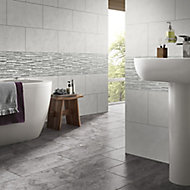 Oscano Grey mix Matt Stone effect Splitface Ceramic Indoor Wall Tile, Pack of 6, (L)300mm (W)600mm
