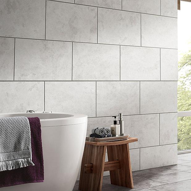 Oscano Light Grey Matt Stone Effect Ceramic Wall Floor Tile Pack Of 6 L 300mm W 600mm Tradepoint