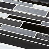 Palermio Brown Glass effect Mosaic Aluminium & glass Mosaic tile, (L)298mm (W)294mm