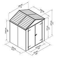 Palram Rubicon 6x5 Apex Dark grey Plastic Shed