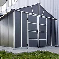 Palram Yukon with WPC floor 11X17.2 Apex Dark grey Plastic Shed