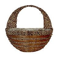 Panacea Fern & rope Rattan Hanging basket, 40cm