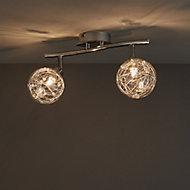 Paralia Chrome effect Mains-powered 2 lamp Spotlight