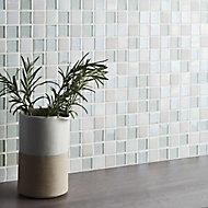 Parmia White Glass effect Glass & marble Mosaic tile, (L)306mm (W)306mm