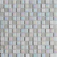 Parmia White Glass effect Mosaic Glass & marble Mosaic tile, (L)306mm (W)306mm