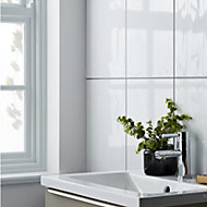 Perouso White Gloss Ceramic Wall tile, Pack of 6, (L)600mm (W)300mm