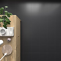 Pescaro Black Matt Plain Ceramic Wall & floor tile, Pack of 13, (L)333mm (W)333mm