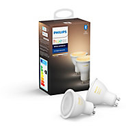 Philips Hue GU10 LED Cool white & warm white Dimmable Smart Light bulb, Pack of 2