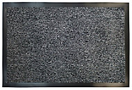 Plain Grey Polyester Door mat (L)0.6m (W)0.4m