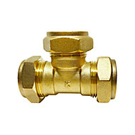 Plumbsure Brass Compression Equal Tee (Dia)22mm