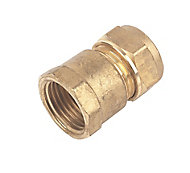 Plumbsure Compression Straight Coupler (Dia)15mm x 12.7mm
