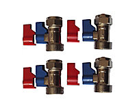 "Plumbsure Compression Straight Washing machine Valve (Dia)15mm x ¾"", Pack of 4"