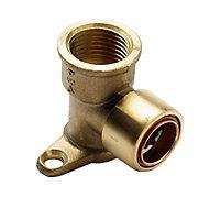Plumbsure Push-fit 90° Wallplate Pipe elbow (Dia)15mm